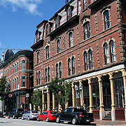 Examples of 19th Century architecture on Middle Street, Portland, Maine, USA. A fire in 1866 destroyed much of Portland which was rebuilt in a Victorian style. Many of these old buildings now house boutiques and restaurants.