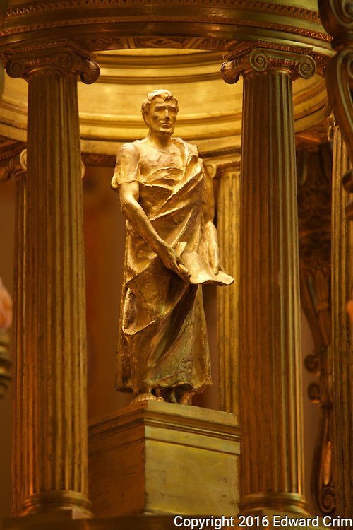 Figure of Solon in one of the four chandeliers of the Supreme Court chamber of the Pennsylvania capitol in Harrisburg.