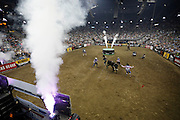 Riders compete at a Professional Bull Riders, Built Ford Tough Series event at the Sprint Center, Saturday, Feb. 11, 2017, in Kansas City, Mo. (AP Photo/Colin E. Braley)