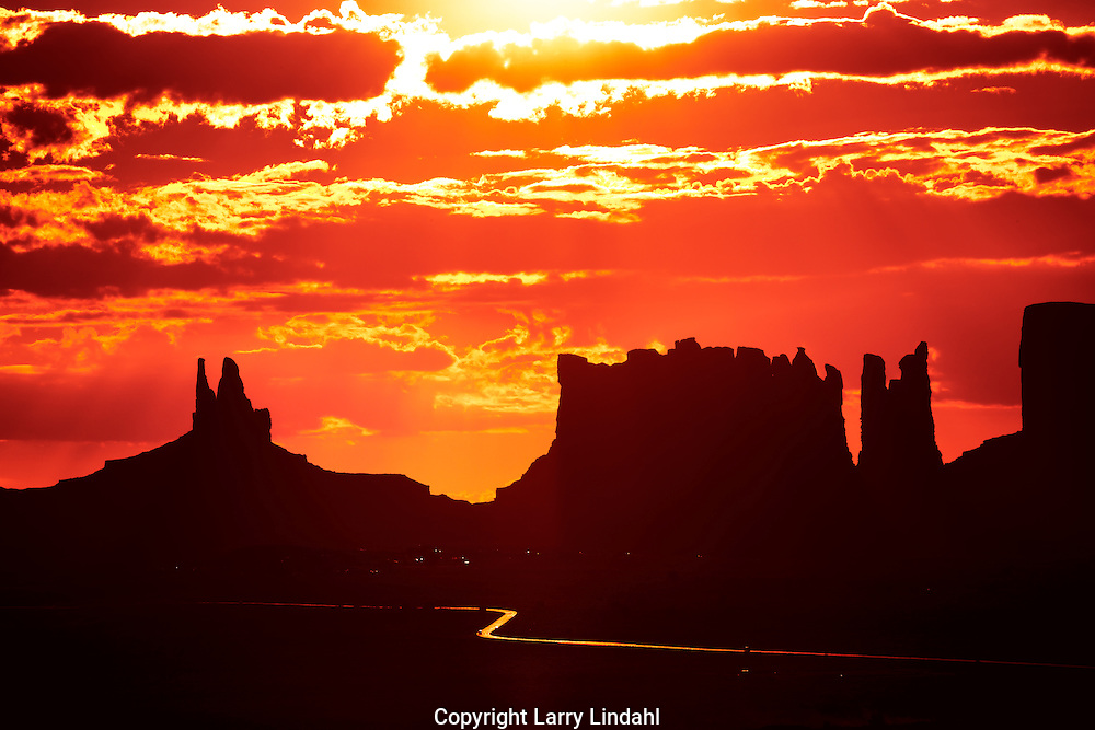 View from Goulding's Trading Post, sunrise, Monument Valley, Arizona