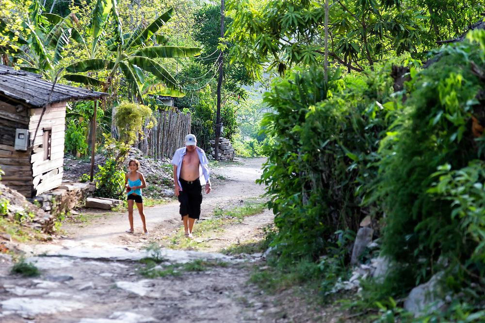 Rural road in Charco Redondo, Granma, Cuba.
