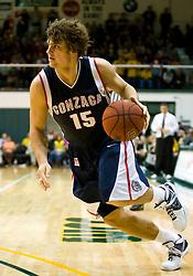 January 30, 2010; San Francisco, CA, USA;  Gonzaga Bulldogs guard Matt Bouldin (15) in overtime against the San Francisco Dons at the War Memorial Gym.  San Francisco defeated Gonzaga 81-77 in overtime.