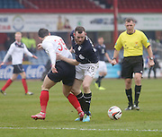 Craig Beattie goes past Mark Millar - Dundee  v Falkirk - SPFL Championship at Dens Park<br /> <br />  - &copy; David Young - www.davidyoungphoto.co.uk - email: davidyoungphoto@gmail.com