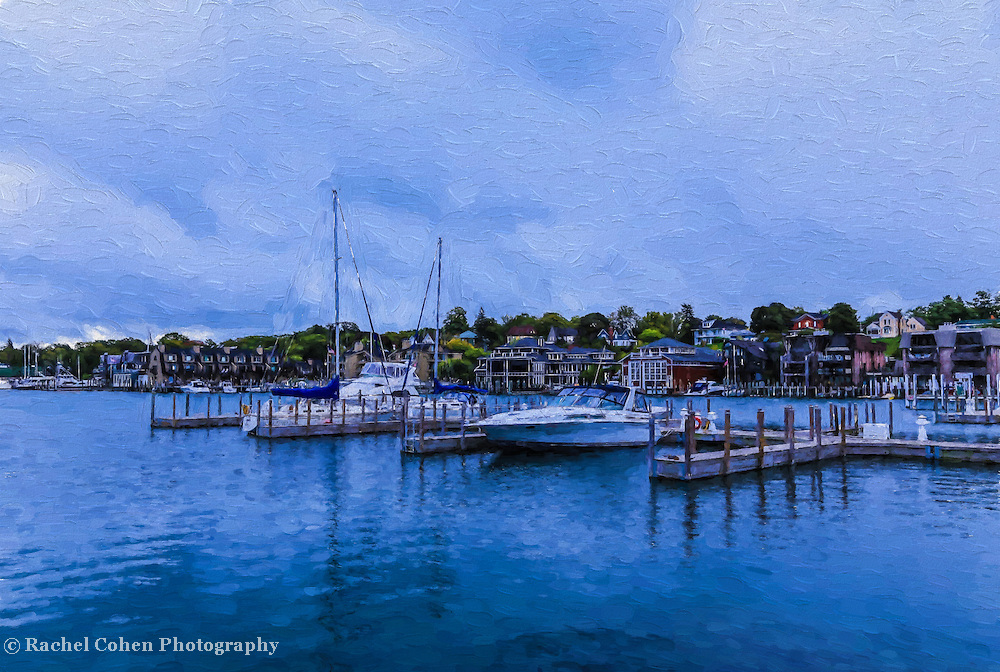 &quot;Charlevoix Michigan Painting&quot;<br /> <br /> Enjoy this lovely digital oil painting of Charlevoix City Marina in Charlevoix Michigan! A peaceful scene in shades of blue!