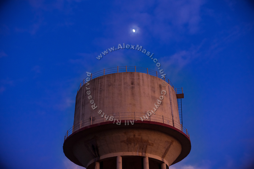 A water tank is standing in the impoverished colony of Oriya Basti, in Bhopal, Madhya Pradesh, India, site of the 1984 Union Carbide (now DOW Chemical) gas disaster.