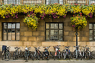 Parked Bicycles at the Guildhall in Central Cambridge, UK
