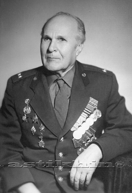 Great Patriotic War veteran with military awards and medals on the uniform.