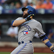 Catcher Russell Martin, Toronto Blue Jays, batting during the New York Mets Vs Toronto Blue Jays MLB regular season baseball game at Citi Field, Queens, New York. USA. 16th June 2015. Photo Tim Clayton