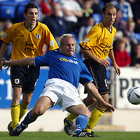 St Johnstone v Raith Rovers....20.09.03<br />Mixu Paatelainen is closed down by Craig Stanley and Antonio Calderon<br /><br />Picture by Graeme Hart<br />Perthshire Picture Agency<br />Tel: 01738 623350 / 07990 594431