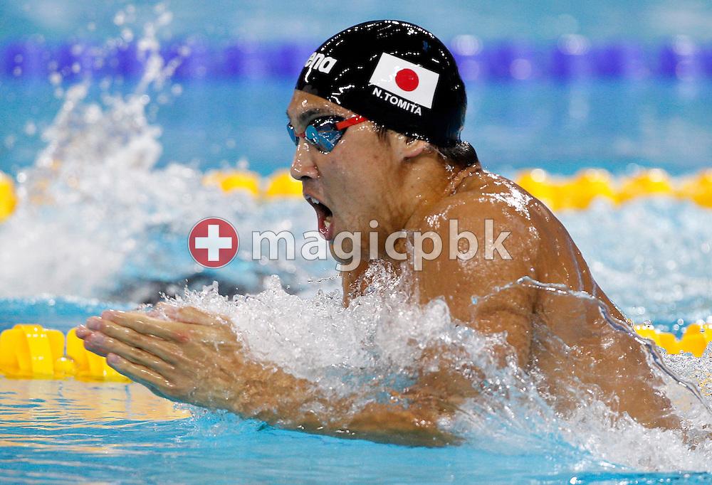 Naoya TOMITA of Japan competes in the men's 200m Breaststroke Heats during the 10th FINA World Swimming Championships (25m) at the Hamdan bin Mohammed bin Rashid Sports Complex in Dubai, United Arab Emirates, Friday, Dec. 17, 2010. (Photo by Patrick B. Kraemer / MAGICPBK)