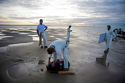 © Licensed to London News Pictures. 24/08/2017. Solent, UK. Players unpack their equipment on the Bramble Bank. Teams take part in the Brambles Bank Cricket Match in the middle of The Solent strait on August 24, 2017. The annual cricket match between the Royal Southern Yacht Club and The Island Sailing Club, takes place on a sandbank which appears for 30 minutes at lowest tide. The game lasts until the tide returns. Photo credit: Ben Cawthra/LNP