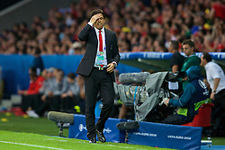 LILLE, FRANCE - Friday, July 1, 2016: Wales manager Chris Coleman rues a missed chance against Belgium during the UEFA Euro 2016 Championship Quarter-Final match at the Stade Pierre Mauroy. (Pic by Paul Greenwood/Propaganda)