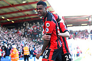 AFC Bournemouth forward Joshua King celebrates with Ryan Fraser of AFC Bournemouth after scoring a goal to make the score 2-1 during the Premier League match between Bournemouth and Burnley at the Vitality Stadium, Bournemouth, England on 13 May 2017. Photo by Graham Hunt.