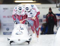 13.02.2016, Olympiaeisbahn Igls, Innsbruck, AUT, FIBT WM, Bob und Skeleton, Zweierbob Herren, 1. Lauf, im Bild Oskars Kibermanis und Matiss Miknis (LAT) // Oskars Kibermanis and Matiss Miknis of Latvia competes during two men Bobsleigh 1st run of FIBT Bobsleigh and Skeleton World Championships at the Olympiaeisbahn Igls in Innsbruck, Austria on 2016/02/13. EXPA Pictures © 2016, PhotoCredit: EXPA/ Johann Groder