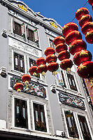 Red lanterns hang along Shang Jia Lu, a shopping street of beautiful old Qilou builidngs in Guangzhou.