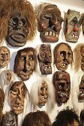 Alte Masken aus der Sammlung des Museums. Die fratzenartigen, furchterregenden Masken sind das Markenzeichen des Lötschentals, weltweit bekannt als Souvenir-masken liegt der hölzernen TSCHAEGGAETTA -Maske ein jahrhundertealter Fasnachstbrauch zugrunde.  © Romano P. Riedo