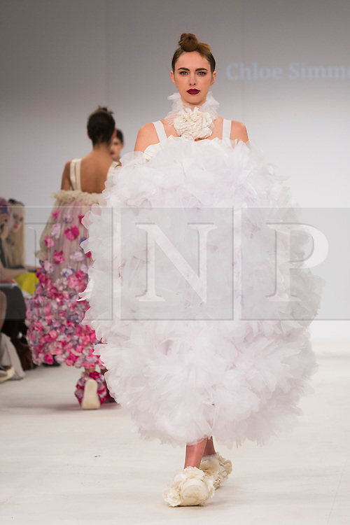 © Licensed to London News Pictures. 30/05/2015. London, UK. A model walks the runway during the Northbrook College Sussex fashion show at Graduate Fashion Week 2015 wearing the collection of graduate student Chloe Simmonds. Graduate Fashion Week takes place from 30 May to 2 June 2015 at the Old Truman Brewery, Brick Lane. Photo credit : Bettina Strenske/LNP