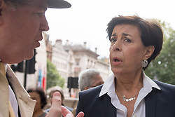 © Licensed to London News Pictures. 07/09/2017. London, UK. Antonieta López, mother of Leopoldo López, meets the media outside Downing Street after talks with Europe and the Americas Minister Alan Duncan and Head of Venezuela's National Assembly Julio Andrés Borges to discuss the political situation in Venezuela.  Leopoldo López, co-founder of the political party Primero Justicia with Julio Andrés Borges, is currently under house arrest in Venezuela.   Photo credit : Stephen Chung/LNP