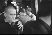 Dean Drinking Pint in Pub, High Wycombe, UK, 1980s.