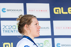 Podium with 1st VAN DIJK Ellen from NETHERLANDS, 2nd KLEIN Lisa from GERMANY and 3rd BRAND Lucinda from NETHERLANDS after Women Elite Time Trial at 2019 UEC European Road Championships, Alkmaar, The Netherlands, 8 August 2019. <br /> <br /> Photo by Pim Nijland / PelotonPhotos.com <br /> <br /> All photos usage must carry mandatory copyright credit (Peloton Photos | Pim Nijland)