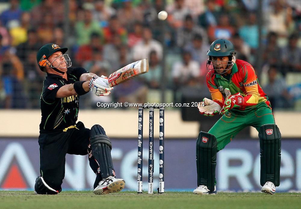 David Warner batting - Bangladesh v Australia, Shere Bangla National Stadium, Mirpur, Bangladesh. 1 April 2014. Photo: www.photosport.co.nz