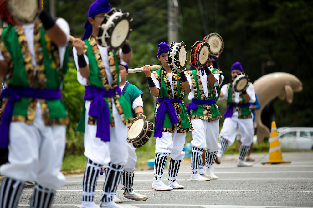 OKINAWA, JAPAN - AUGUST 17 : Young people perform a modern Eisa folk dance in a small village in Nago during the Obon festival to honour the spirits of their ancestors on August 17, 2016, Okinawa prefecture, Japan.  (Photo by Richard Atrero de Guzman/NURPhoto)