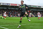 Forest Green Rovers Elliott Frear(17) scores a goal 0-2 and celebrates during the EFL Sky Bet League 2 match between Cheltenham Town and Forest Green Rovers at Jonny Rocks Stadium, Cheltenham, England on 2 November 2019.