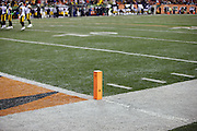 Holes are cut into an end zone pylon to make room for remote television cameras in this general view, wide angle photograph taken at the Cincinnati Bengals NFL AFC Wild Card playoff football game against the Pittsburgh Steelers on Saturday, Jan. 9, 2016 in Cincinnati. The Steelers won the game 18-16. (©Paul Anthony Spinelli)