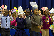 "Middletown, New York - Preschool and pre-K students sing a song during the ""YMCA Thanksgiving Day Spectacular"" on the stage at the Center for Youth Programs on Nov. 27, 2013."