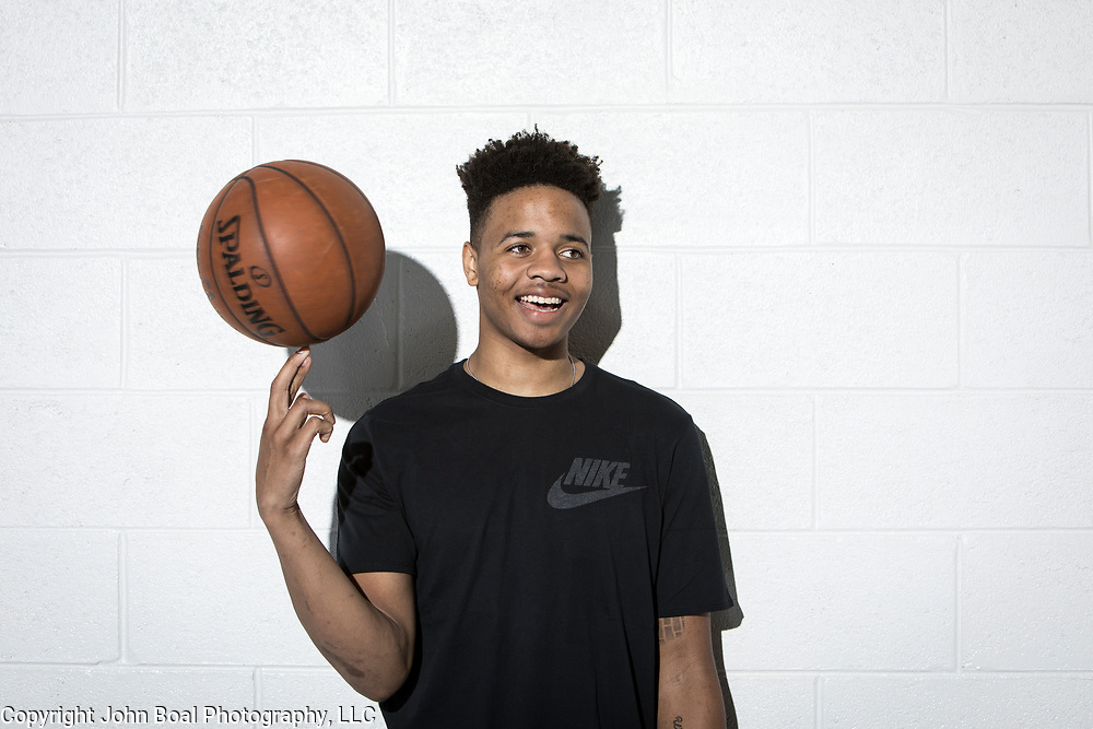 "Markelle Fultz at the North Laurel Community Center ahead of the NBA Draft, in Laurel, MD, on Monday, June 12, 2017. Fultz, 19, a 6'6"" point guard, played one year at the University of Washington and is expected to be the first pick in the NBA draft by the Boston Celtics. John Boal/for The Boston Globe"