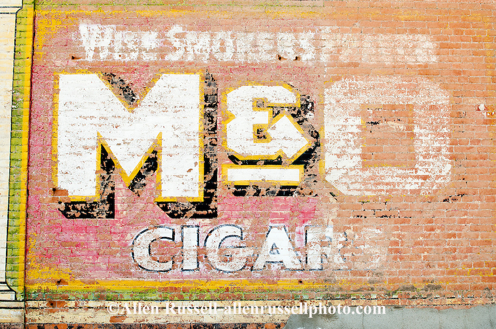 Old mural, cigars. advertisement, Miles City, Montana