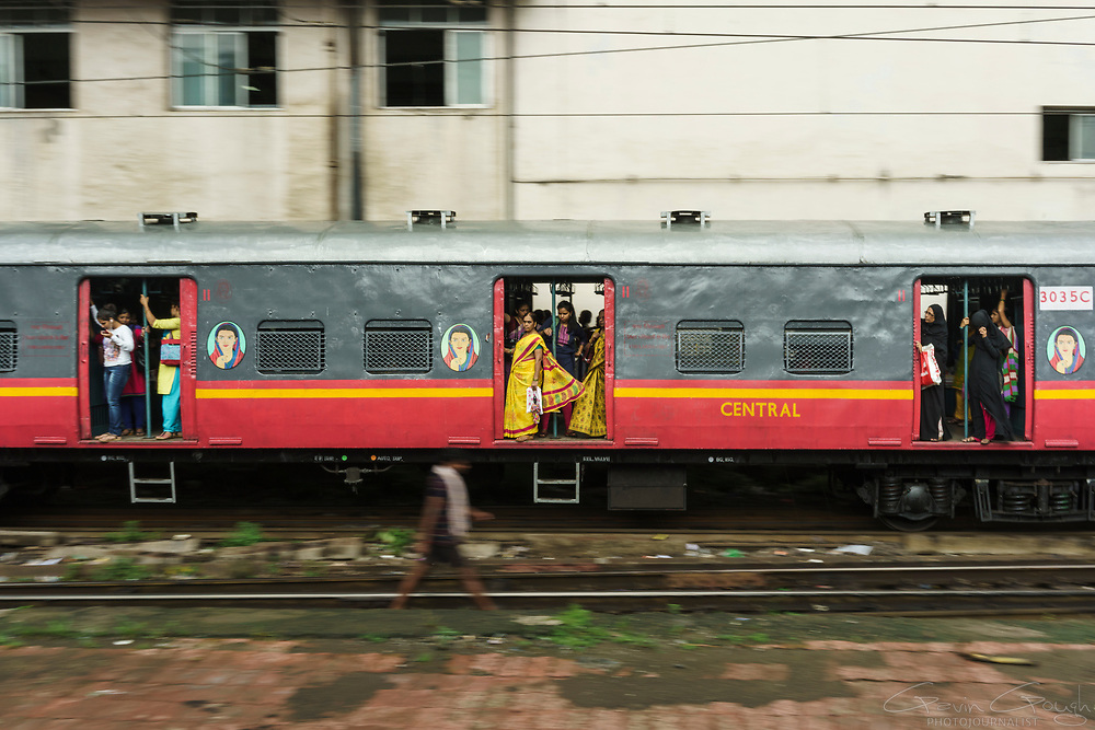 Female commuters arring at Mumbai's Chhatrapati Shivaji Terminus travel in Women-Only carriages.