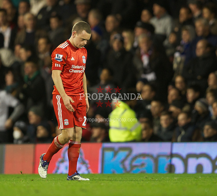 LONDON, ENGLAND - Monday, December 5, 2011: Liverpool's Jay Spearing walks off after being shown the red card during the Premiership match against Fulham at Craven Cottage. (Pic by David Rawcliffe/Propaganda)