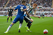 Newcastle United Jack Colback gets the ball from Chelsea FC Oscar during the Barclays Premier League match between Newcastle United and Chelsea at St. James's Park, Newcastle, England on 26 September 2015. Photo by Craig McAllister.