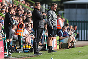Forest Green Rovers manager, Mark Cooper and Forest Green Rovers assistant manager, Scott Lindsey during the Pre-Season Friendly match between Forest Green Rovers and Leeds United at the New Lawn, Forest Green, United Kingdom on 17 July 2018. Picture by Shane Healey.