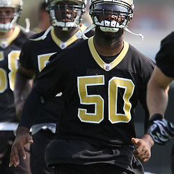 2008 May 21: New Orleans Saints linebacker Marvin Mitchell #50 runs during team organized activities at the Saints training facility in Metairie, LA. .