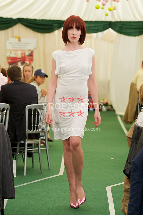 LIVERPOOL, ENGLAND - Friday, June 19, 2009: Rebecca Jones of John Alexander Model Agency during a fashion show during Day Three of the Tradition ICAP Liverpool International Tennis Tournament 2009 at Calderstones Park. (Pic by David Rawcliffe/Propaganda)