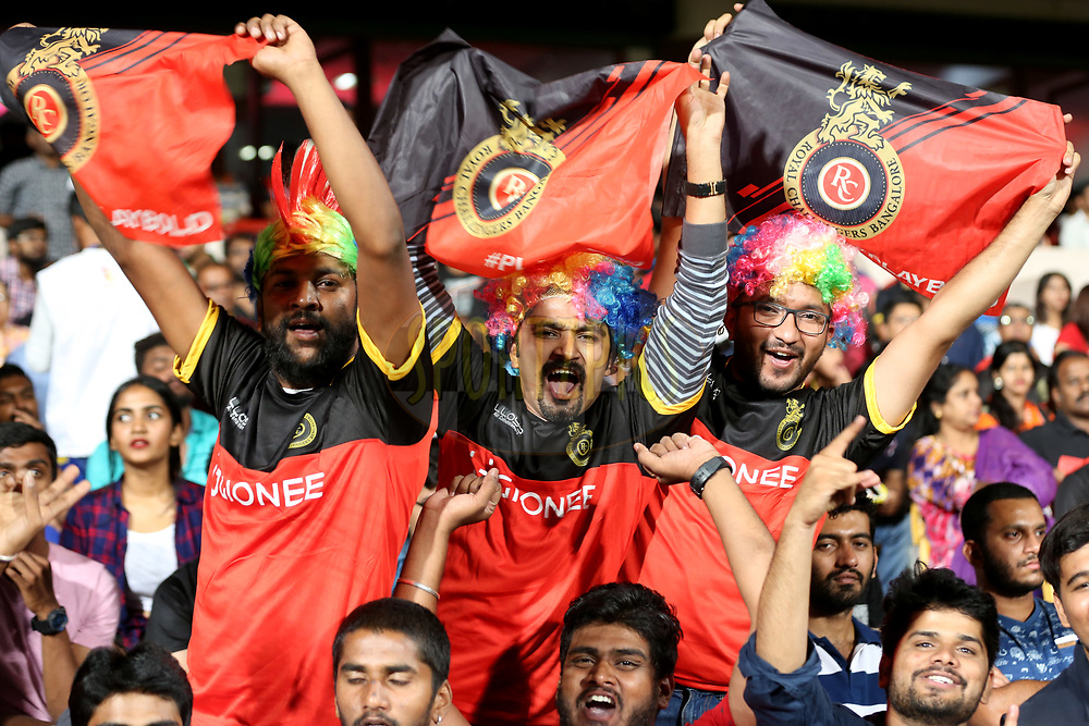 RCB fans cheers during match 5 of the Vivo 2017 Indian Premier League between the Royal Challengers Bangalore and the Delhi Daredevils held at the M.Chinnaswamy Stadium in Bangalore, India on the 8th April 2017<br /> <br /> Photo by Faheem Hussain - IPL - Sportzpics
