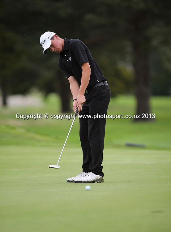 Kadin Neho on the final day of the 2013 New Zealand Amateur Championship, Manawatu Golf Club, Palmerston North, New Zealand. Sunday 26 April 2013. Photo: John Cowpland / photosport.co.nz