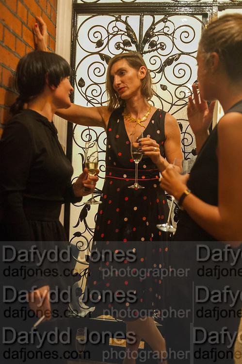 GOSHKA MACUGA;  Anat Ben-David; GIOVANNA SILVA;   Valeria Napoleone hosts a dinner at her apartment e to celebrate the publication of her book  Valeria Napoleone's Catalogue of Exquisite Recipes. Palace Green. Kensington. London. 28 September 2012.