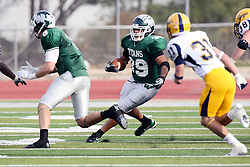 12 November 2011:  Sean Conley makes a cut behind blocker Tate Musselman during an NCAA division 3 football game between the Augustana Vikings and the Illinois Wesleyan Titans in Tucci Stadium on Wilder Field, Bloomington IL