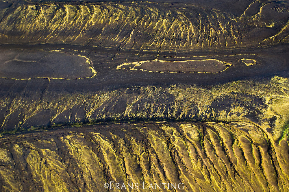 Moss and ash covered hills (aerial), Landmannalaugar, Iceland