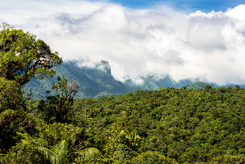 Clouds dropping over mountains of Cordillera Central and Santa Fe National Park; north of Santa Fe, Panama