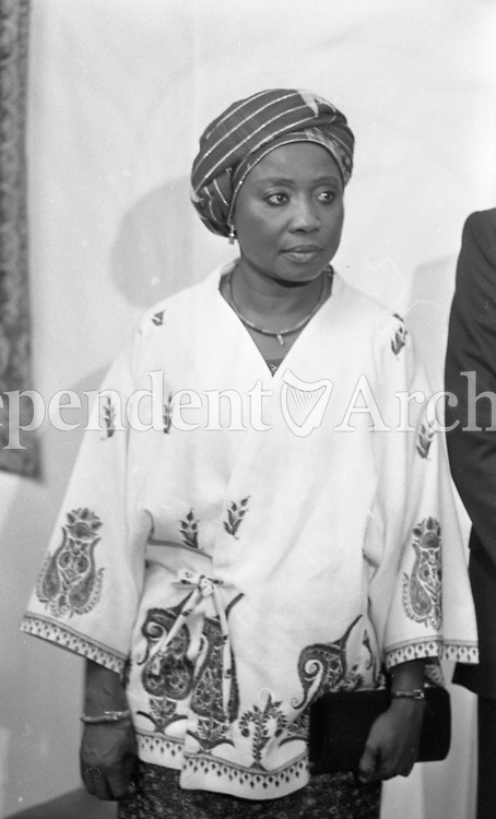 Sally Mugabe, wife of President of Zimbabwe Robert Mugab at a State reception at Dublin Castle during Mugabe's three-day visit to Ireland in September 1983. (Part of the Independent Newspaperrs Ireland/NLI Collection)