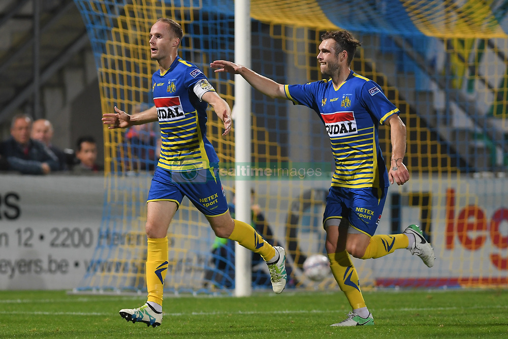 September 24, 2017 - Westerlo, BELGIUM - Westerlo's Wouter Corstjens celebrate after scoring during a soccer game between KVC Westerlo and KSV Roeselare, in Westerlo, Sunday 24 September 2017, on the seventh day of the division 1B Proximus League competition of the Belgian soccer championship. BELGA PHOTO LUC CLAESSEN (Credit Image: © Luc Claessen/Belga via ZUMA Press)
