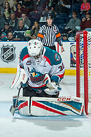 KELOWNA, CANADA - APRIL 8: Michael Herringer #30 of the Kelowna Rockets makes a save against the Portland Winterhawks on April 8, 2017 at Prospera Place in Kelowna, British Columbia, Canada.  (Photo by Marissa Baecker/Shoot the Breeze)  *** Local Caption ***