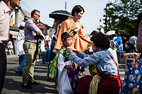 A young child is dressed for a small procession in the Kansai region of Japan.