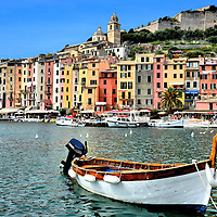Andrea Doria Castle and Fishing Boat in Portovenere, Italy <br />