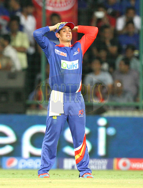 Quinton de Kock of the Delhi Daredevils react during match 23 of the Pepsi Indian Premier League Season 2014 between the Delhi Daredevils and the Rajasthan Royals held at the Feroze Shah Kotla cricket stadium, Delhi, India on the 3rd May  2014<br /> <br /> Photo by Deepak Malik / IPL / SPORTZPICS<br /> <br /> <br /> <br /> Image use subject to terms and conditions which can be found here:  http://sportzpics.photoshelter.com/gallery/Pepsi-IPL-Image-terms-and-conditions/G00004VW1IVJ.gB0/C0000TScjhBM6ikg