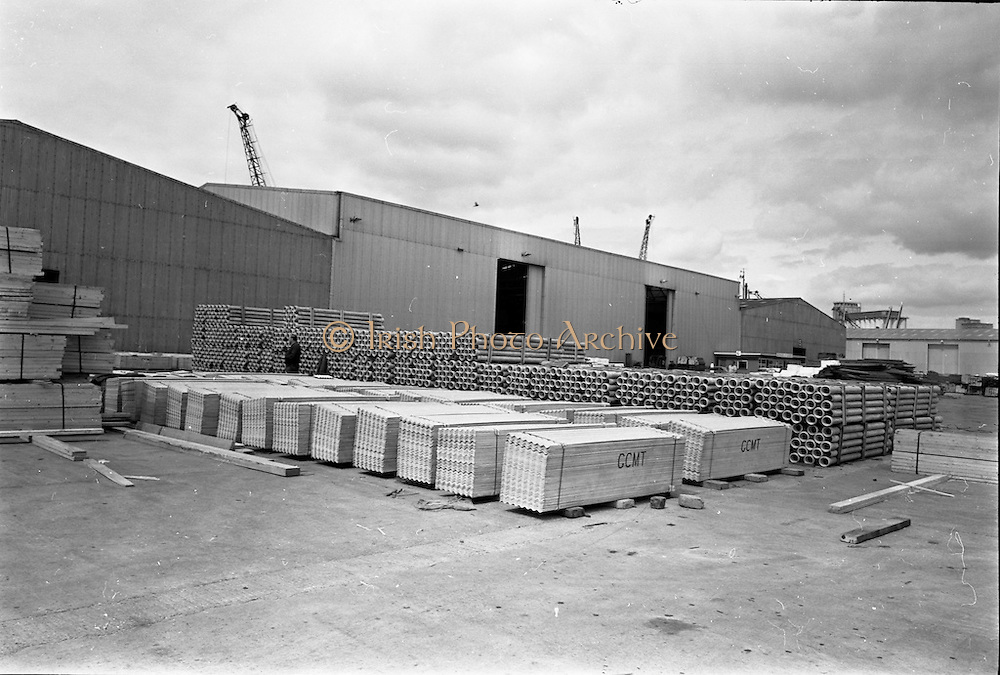 09/06/1967<br /> 06/09/1967<br /> 09 June 1967<br /> Asbestos sheets and pipes being exported to Ghana from Ocean Pier, Dublin. 200 tons of asbestos cement light weight shearing specially designed for export and asbestos cement pipes were shipped on the Nigerian vessel &quot;King Jaja&quot;. Shipment was part of an order fulfilled by Asbestos Cement Ltd. Athy, Co. Kildare. Picture shows part of the order on the Quay.